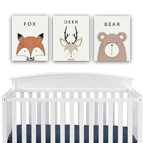 Amazon.com: Woodland Creatures Nursery Decor CANVAS Wall Art - Fox ...