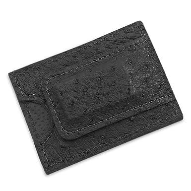 89e63ccbaf3e5 Genuine Ostrich Leather Magnetic Money Clip Wallet Handmade (Black ...
