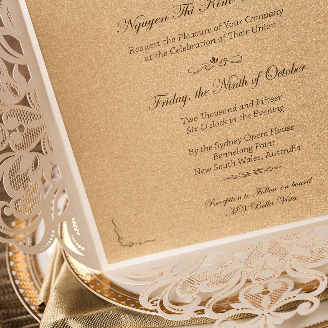 50 pezzi Wishmade Laser Cut inviti da matrimonio Kit bianco in Hollow floreale sposa doccia favori fidanzamento di compleanno Baby Shower Quinceanera di laurea Cartoncino