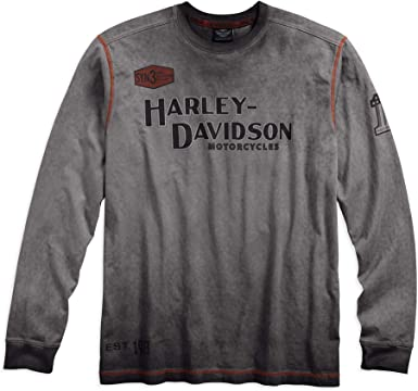 White Harley-Davidson Mens Distressed Freedom Fighter Long Sleeve Shirt