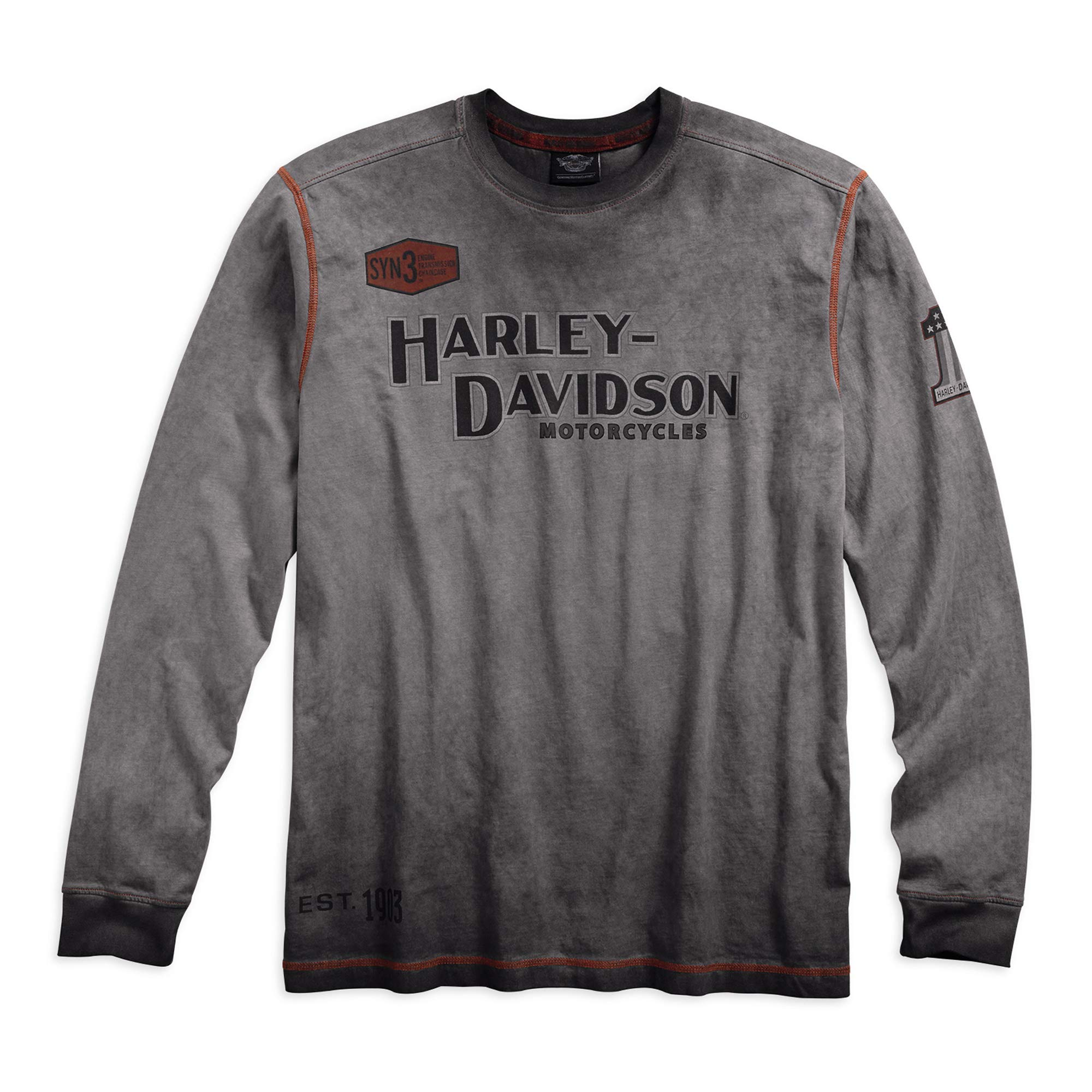 Harley-Davidson Men's Iron Block Long Sleeve Tee, Grey
