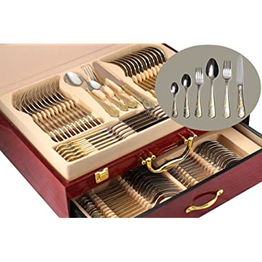 75-Piece Gold Flatware Set Dining Service for 12, 18/10 Premium Stainless Steel, 24K Gold-Plated Trim, Silverware Serving Set, Wood Storage Case ( Mimosa )