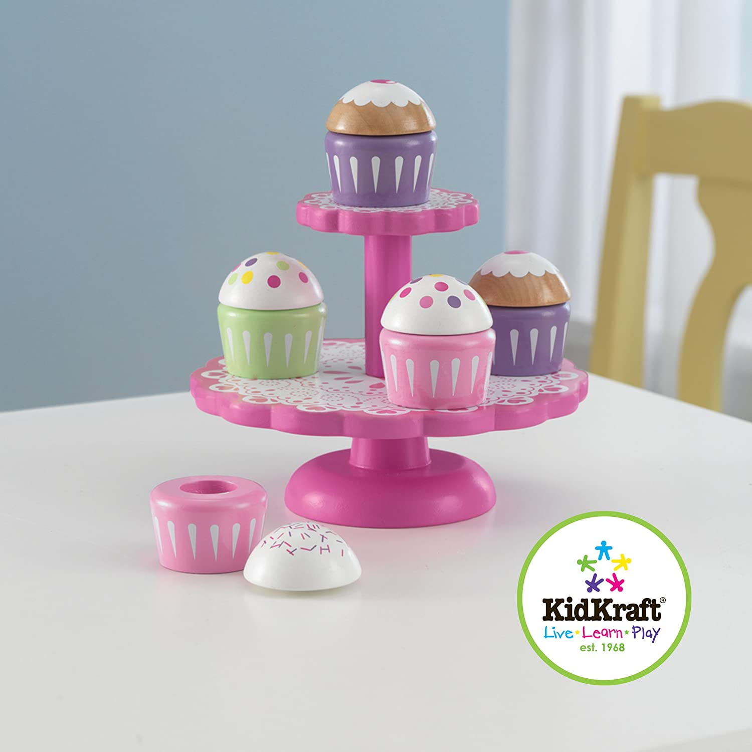 kidkraft wooden cupcake stand with cupcakes toys games