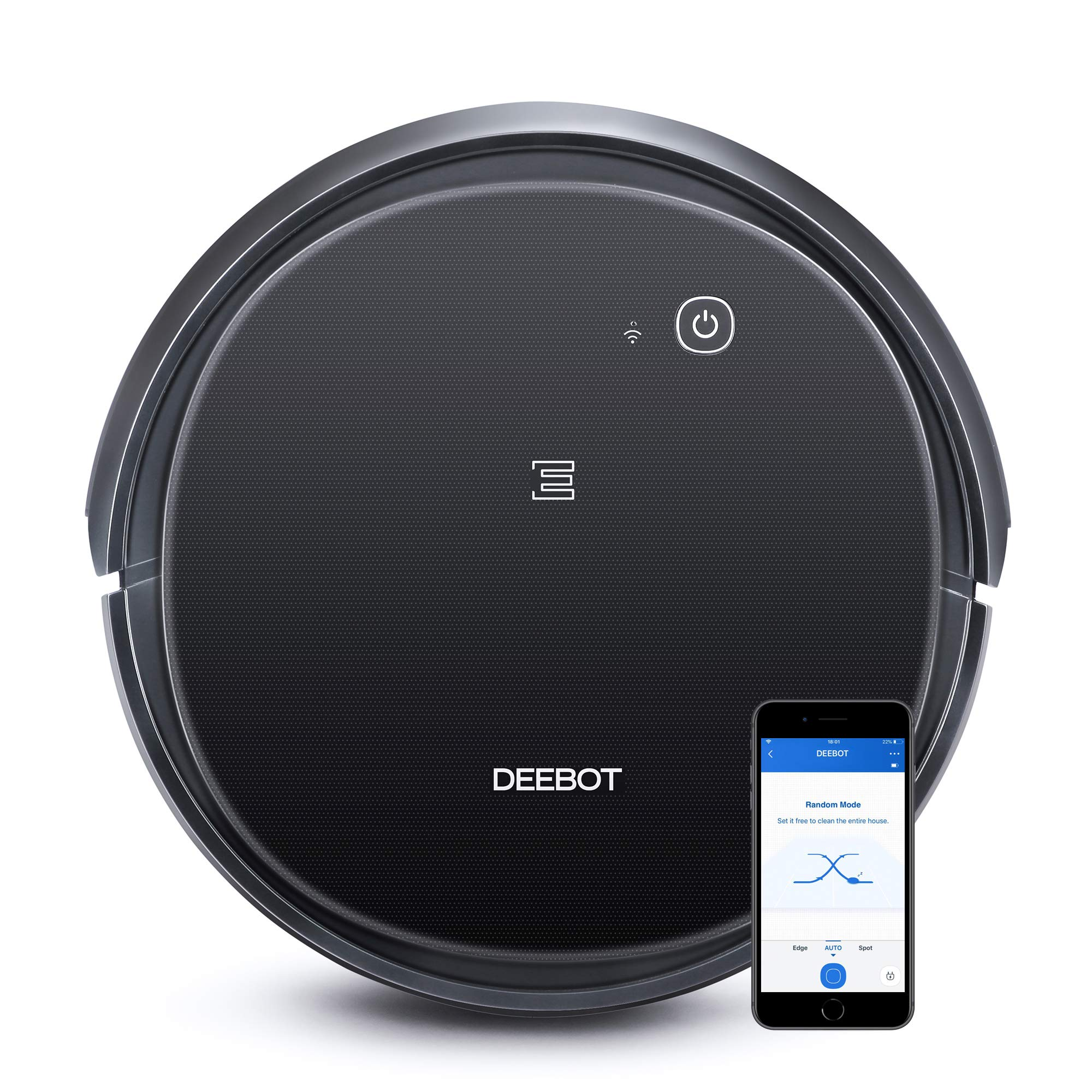 ECOVACS DEEBOT 500 Robotic Vacuum Cleaner with Max Power Suction, Up to 110 min Runtime, Hard Floors & Carpets, App Controls, Self-Charging, Quiet by ECOVACS