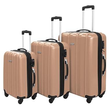 3 PC Luggage Set Durable Lightweight Hard Case Spinner Suitecase LUG3 SK541 CHAMPAGNE