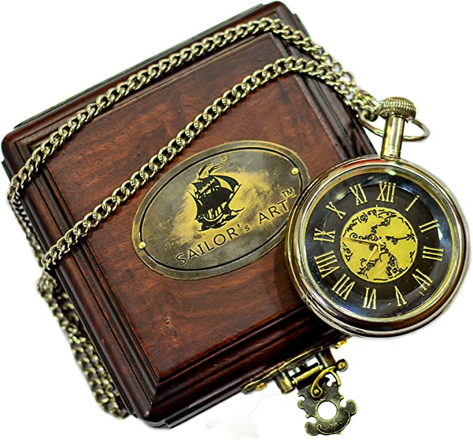 Nautical Marine Antique Finish Brass Compass With Lid Old Vintage Pocket Style