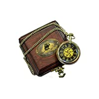 Antique Brass Ship Pocket Watch with Wooden Box Unique Gift