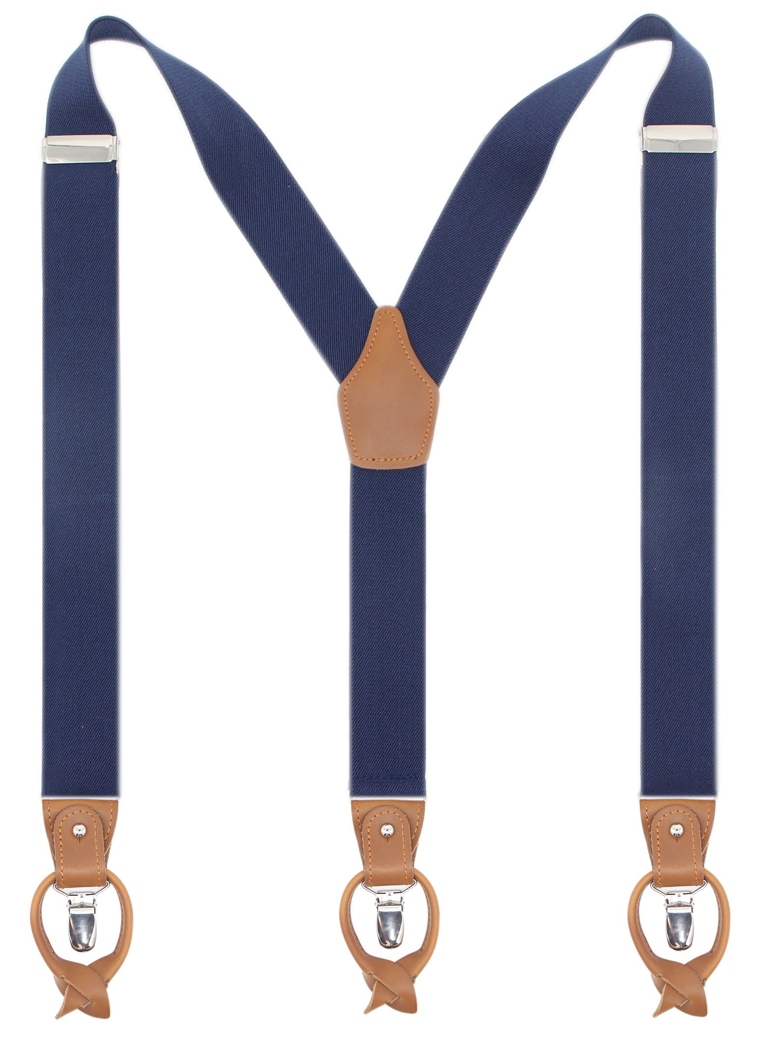 Leather Clip And Button Suspenders For Men, Y-Back Style For Formal Outfits (Navy)