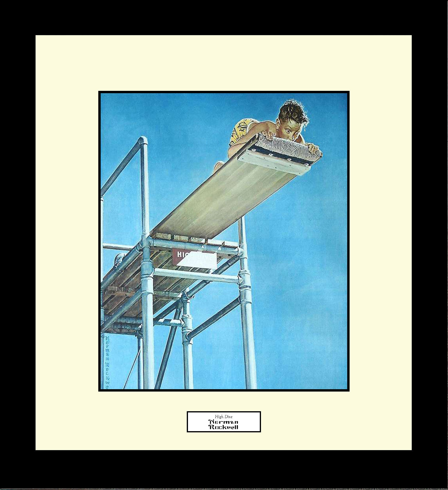 Norman Rockwell HIGH DIVE Framed Boy Swimming Diving Board Wall Hanging Art Gift
