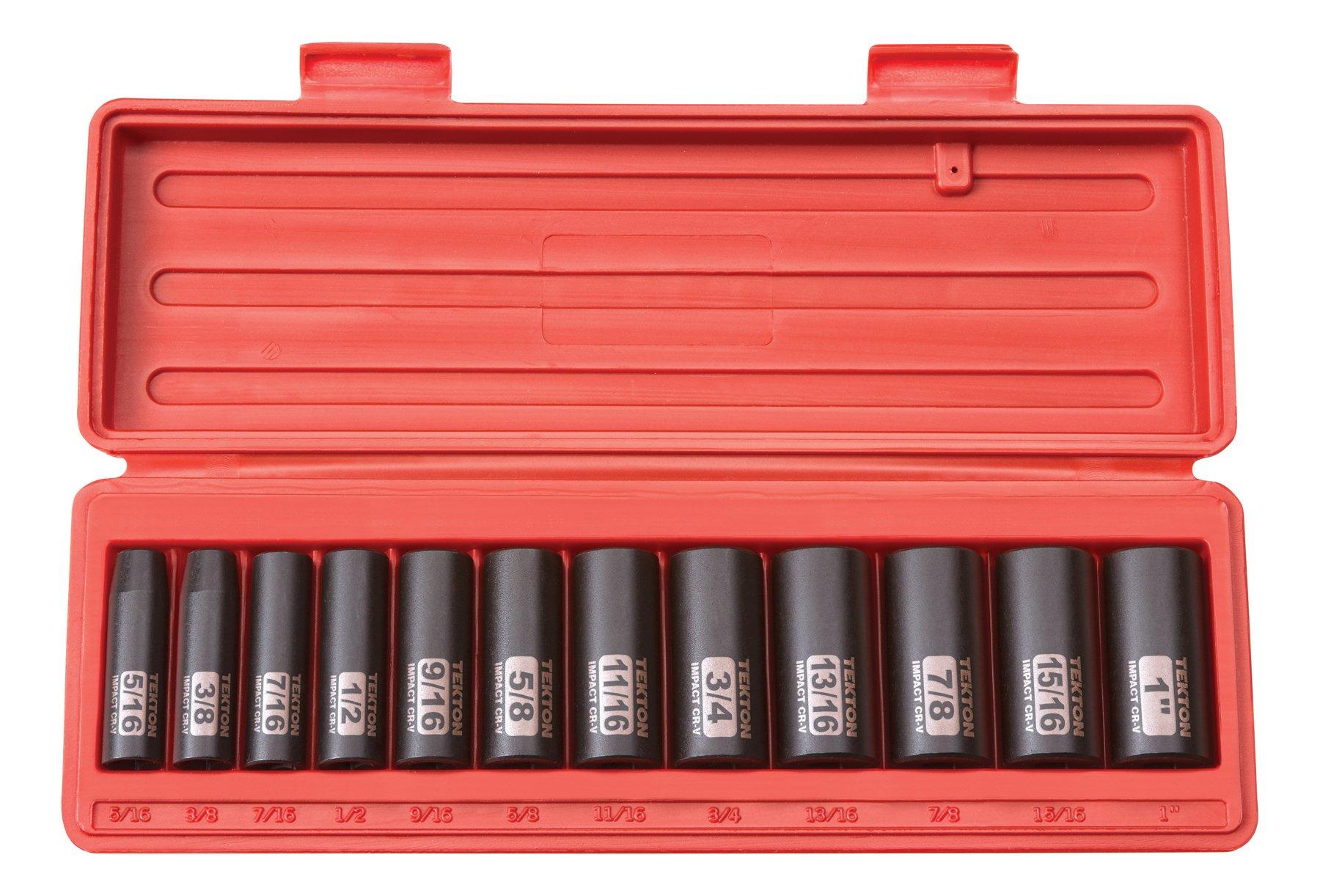 TEKTON 3/8-Inch Drive Deep Impact Socket Set, Inch, Cr-V, 6-Point, 5/16-Inch - 1-Inch, 12-Sockets   47920