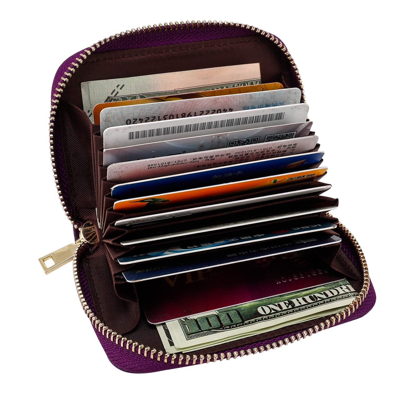 Leder Kreditkartenetui, RFID Kartenetui Visitenkartenetui Zippered Geldbörse Portemonnaie für Männer Frauen Damen, Geschenkbox (Dunkelblau)