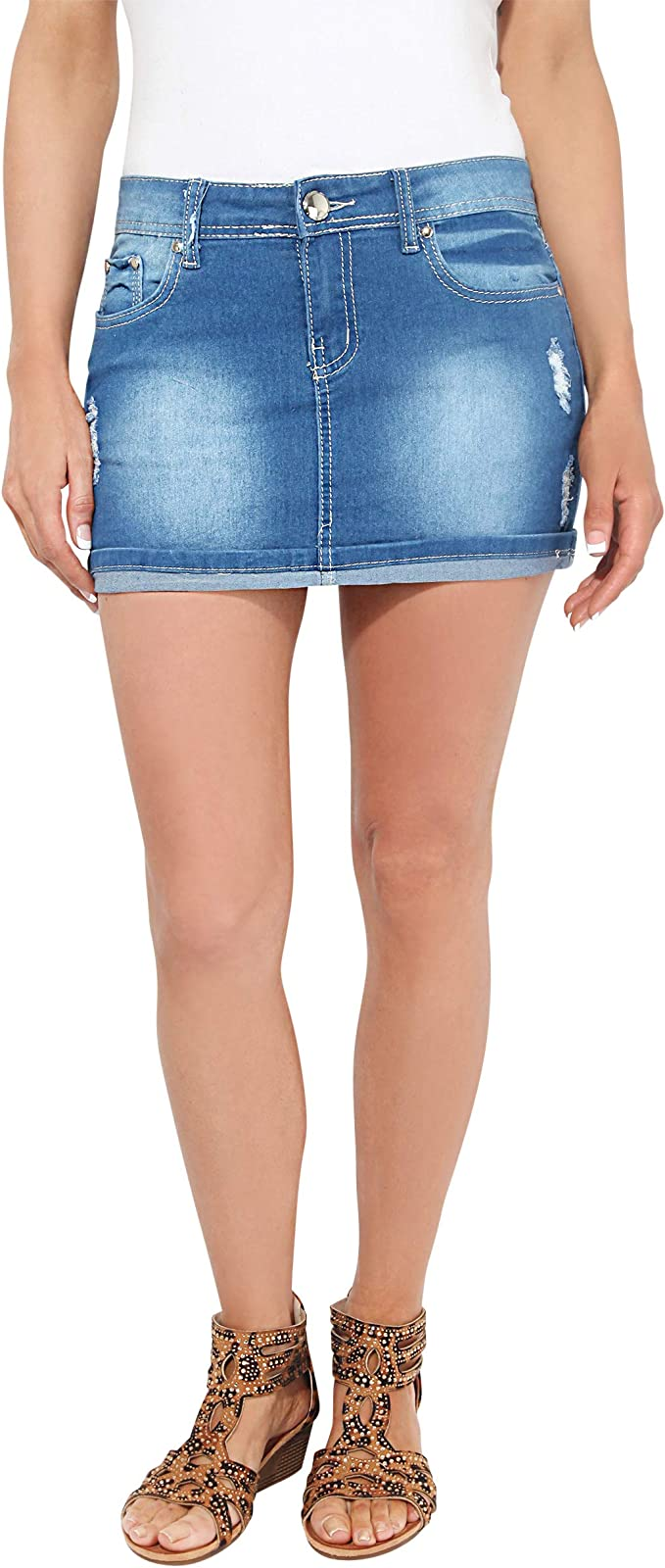 KRISP 3442-BLU-12, Falda Mujer Micro Minifalda Vaquera Desgastada ...