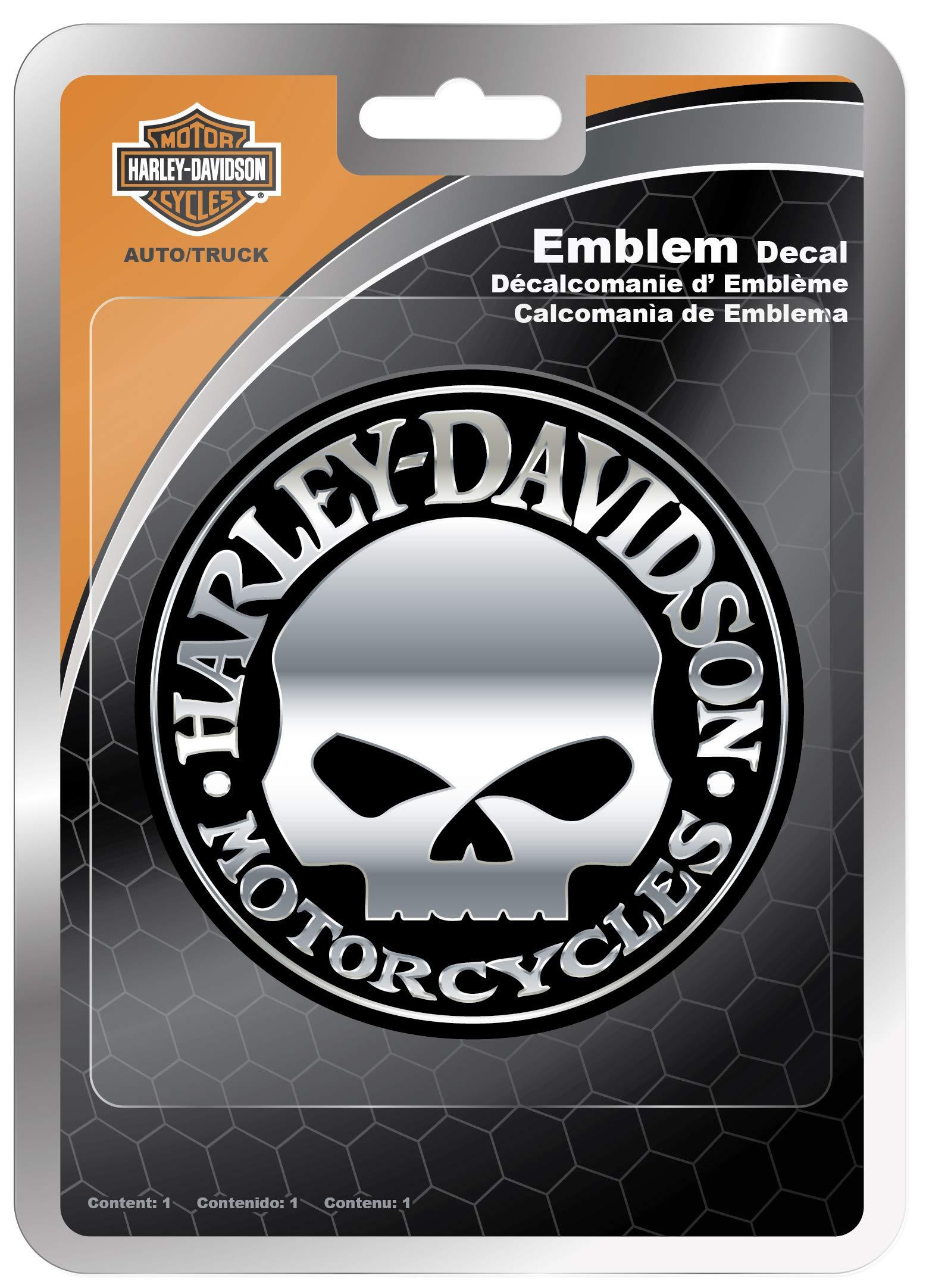 Chroma 009113 Harley-Davidson Skull Chrome ABS Decal, 1 Pack