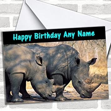 Rhinoceros Rhino Customised Birthday Greetings Card Cards Animals Wildlife Pets Amazoncouk Office Products