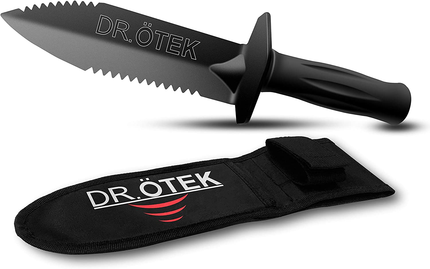 DR.ÖTEK Metal Detector Digger Tool, Sturdy Heavy Duty Double Serrated Edge Digger, Gardening Accessories with Sheath Belt Mount