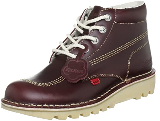 df44f7bd Kickers Mens Kick Hi M Core Dark Red Leather Lace Up Ankle Boots Size 8