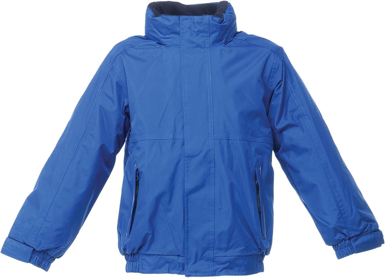 Regatta Kids//Childrens Waterproof Windproof Dover Jacket 11-12 Black//Ash