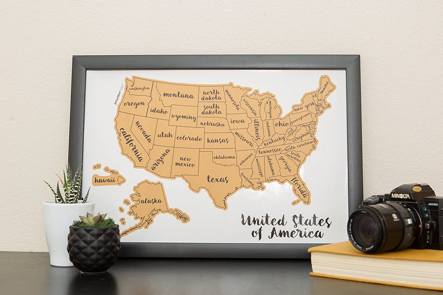 Amazoncom Jetsettermaps Scratch Your Travels United States Of - United states map picture frame