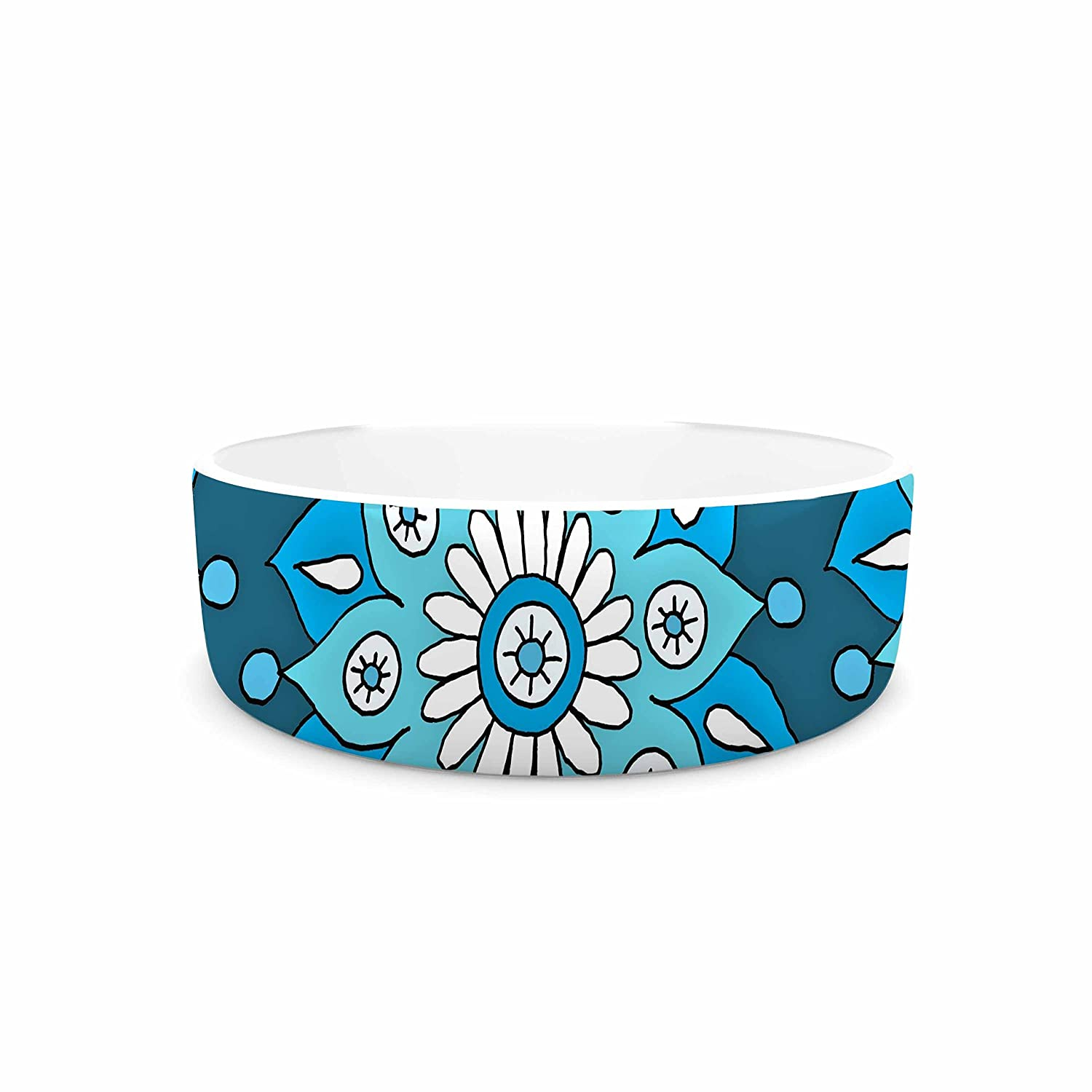 KESS InHouse Sarah Oelerich bluee Flower Burst  Aqua Pet Bowl, 4.75