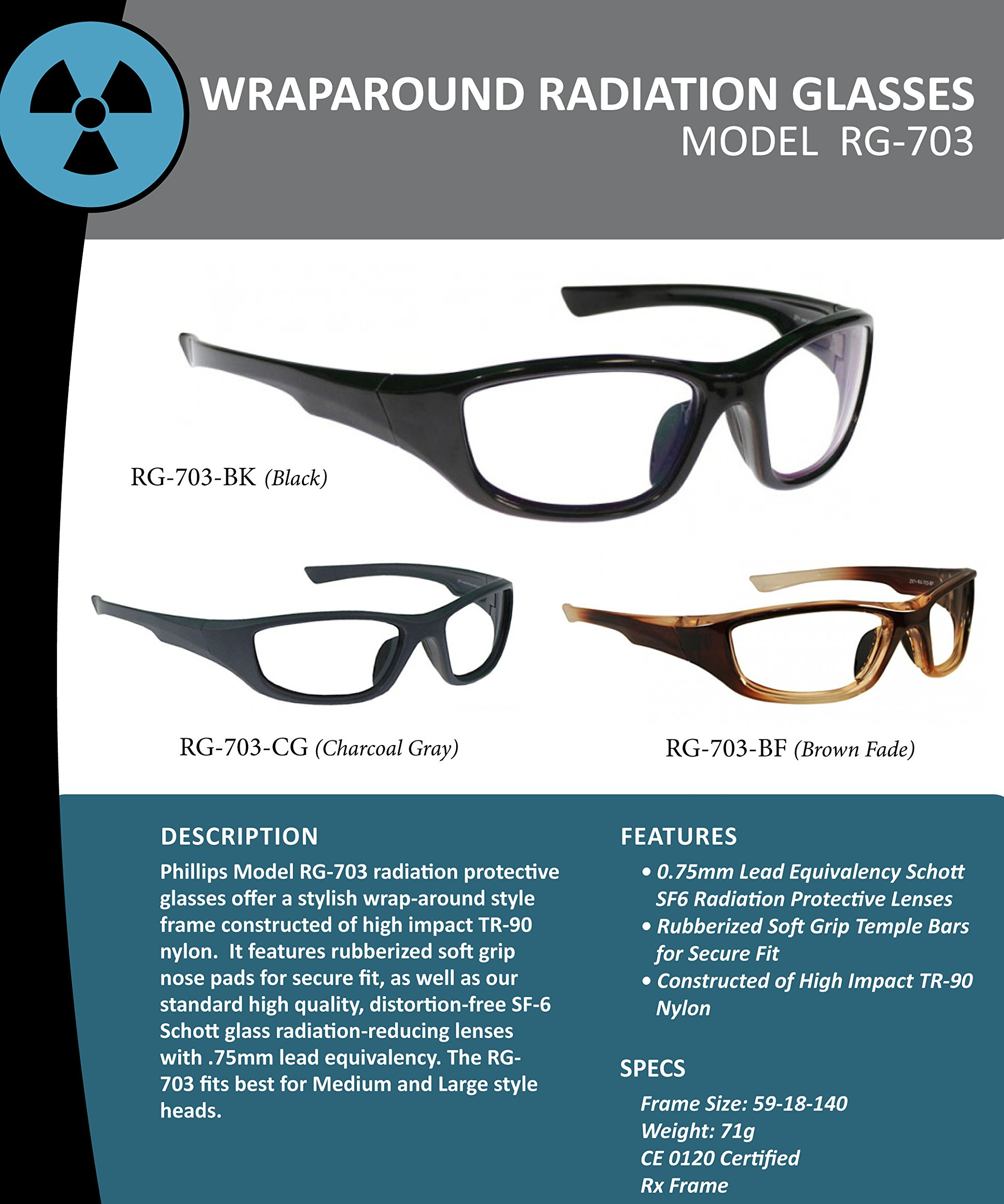 RG-703 Radiation Glasses Black