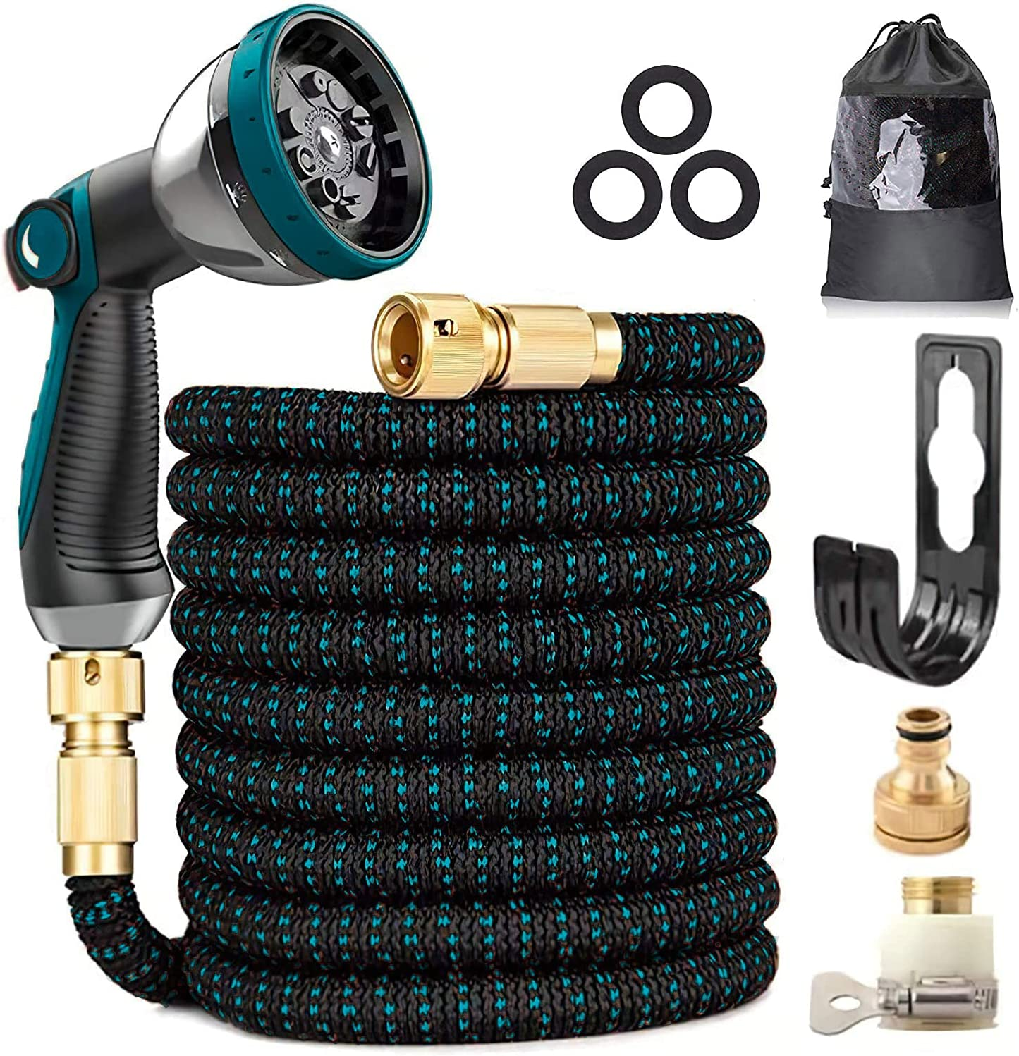 Expandable Garden Water Hose 100FT - Upgraded 3-Layer Latex Flexible Hose, 3/4