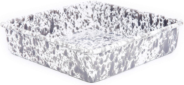 Enamelware Brownie Cornbread Pan - Grey Marble