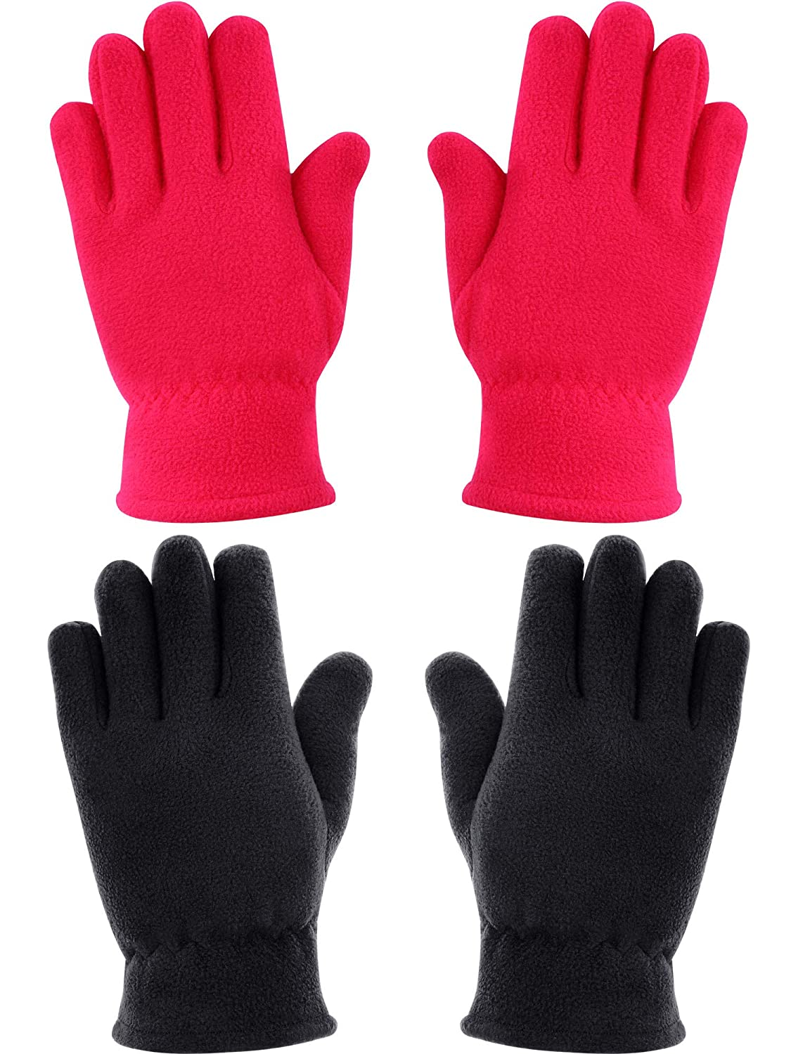 SATINIOR 2 Pairs Kids Gloves Boys Girls Fleece Gloves Full Fingers Warm Gloves for Winter Outdoors Activities Supplies