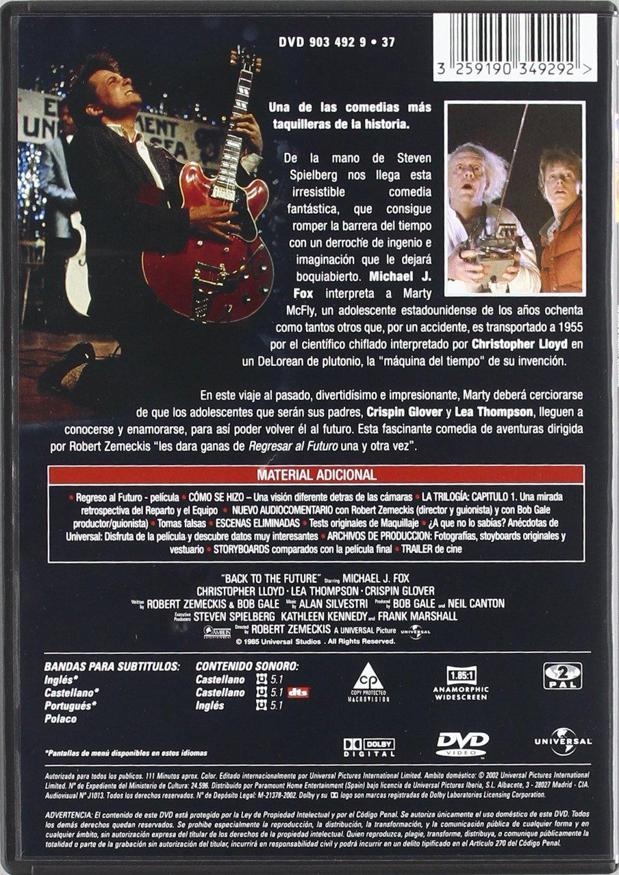 Regreso Al Futuro [DVD]: Amazon.es: Michael J. Fox, Christopher Lloyd, Lea Thompson, Crispin Glover, Robert Zemeckis: Cine y Series TV
