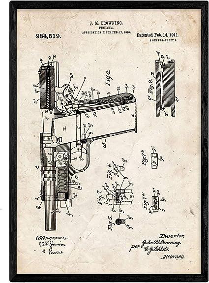 Nacnic Poster con patente de Pistola. Lámina con diseño de patente antigua en tamaño A3 y con fondo vintage