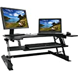VIVO Height Adjustable Standing Desk Monitor Riser Gas Spring | Tabletop Sit to Stand Workstation (DESK-V000B)