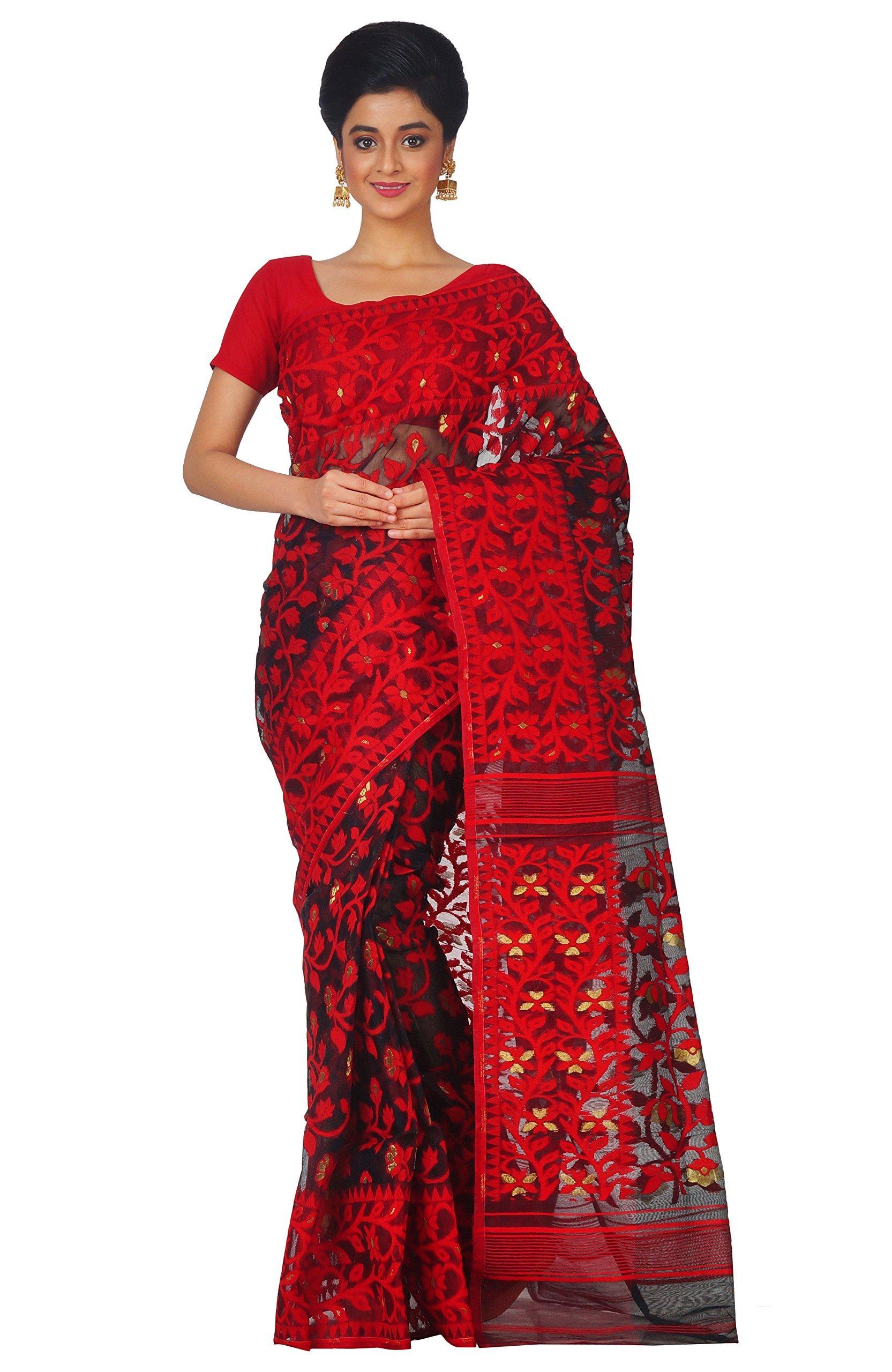 RLBFashion Women's Cotton Silk Handloom Dhakai Jamdani Saree (Red & Black)