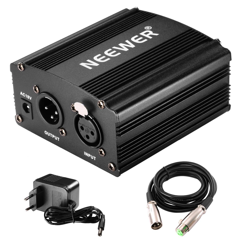 Neewer® Fuente de alimentación canal alimentación fantasma V con adaptador y cable