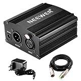 Neewer®,alimentazione Phantom, 1 canale, da 48V, colore: nero, con adattatore e un cavo XLR Audio per tutti i microfoni a condensatore e le apparecchiature di registrazione