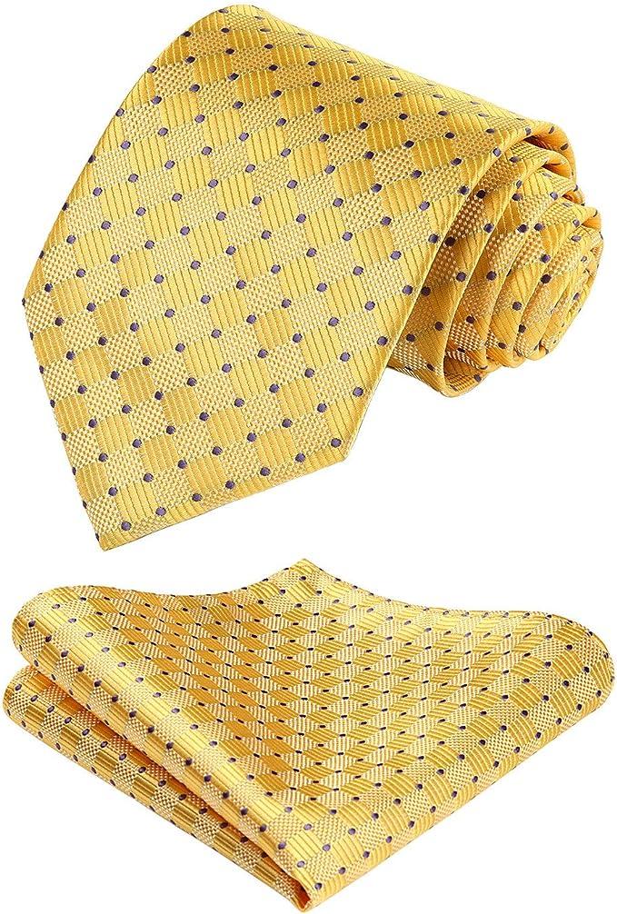 HISDERN extralarga Comprobar Panuelo de lazo Hombres Corbata & Plaza de bolsillo Conjunto Amarillo/morado: Amazon.es: Ropa y accesorios