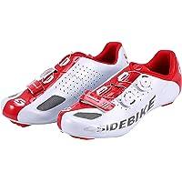 Asvert Zapatillas de Ciclismo Carretera Unisex Profesional con Plantilla Antideslizante Amortiguador para Bicicleta al Aire Libre (Blanco, 43)