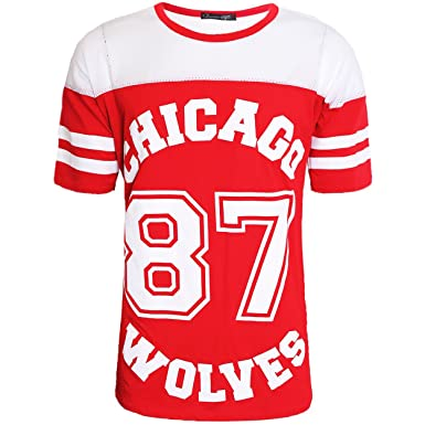 d11fc1fa598c7 SCO Womens Ladies Chicago 87 Wolves Baggy Oversize Baseball Jersey T Shirt  Dress Long Top