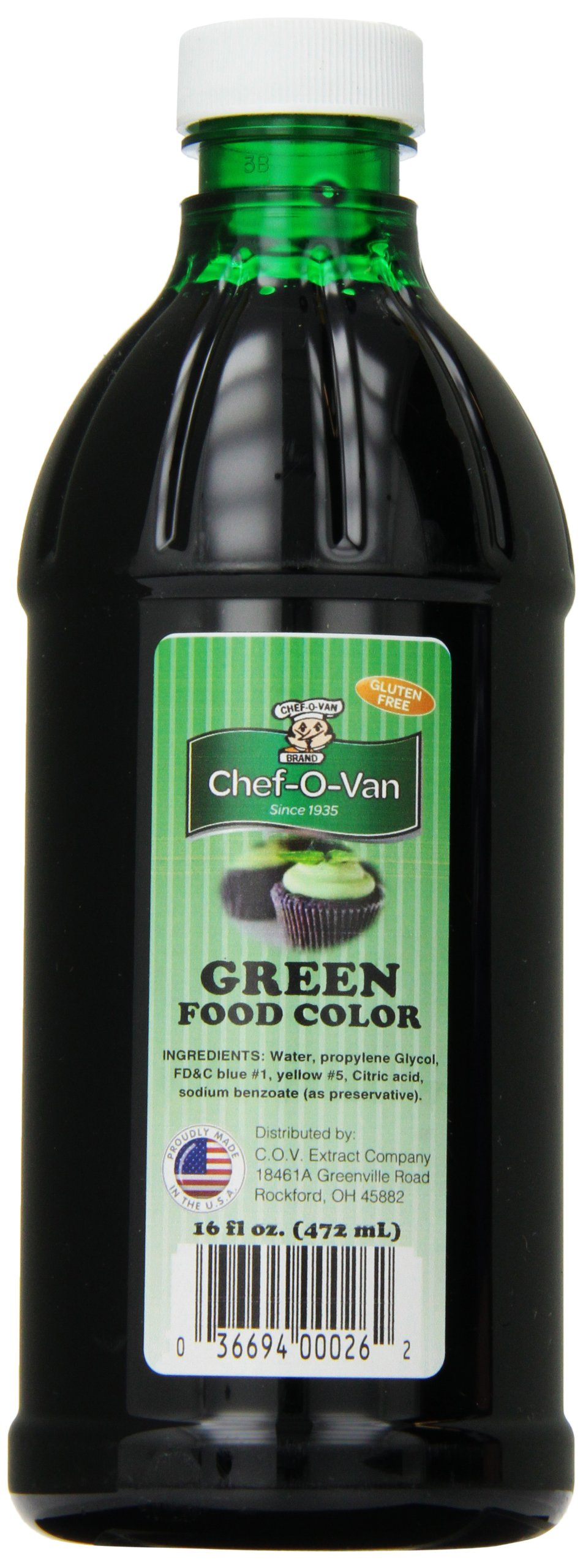 Chef-O-Van Food Coloring, Green, 16 Ounce