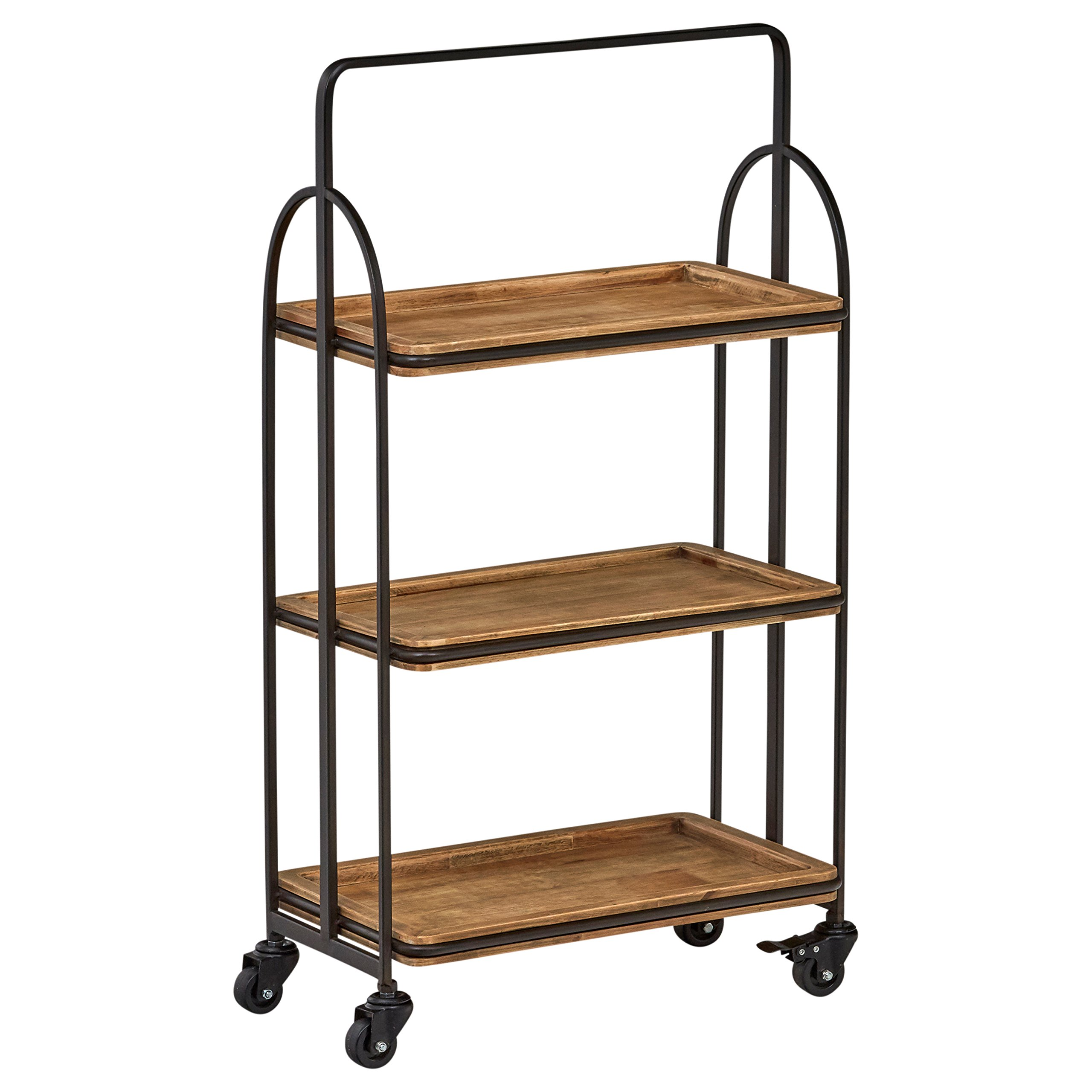 Stone & Beam Industrial Rustic Arced Rolling Wood Metal Kitchen Bar Cart Island with Wheels, 37.2 Inch Height, Storage, Brown, Black by Stone & Beam
