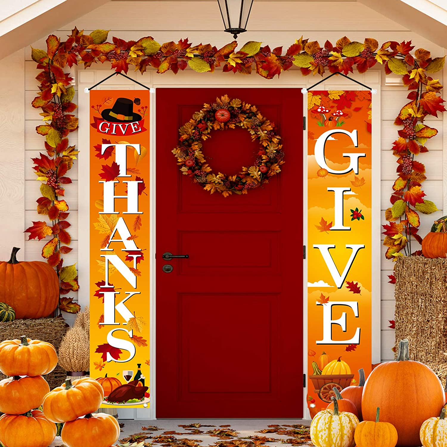 ULERSP Fall Harvest Outdoor Porch Sign Banner -Thanks Give for Front Door or Indoor Display Home Autumn Decor Party Thanksgiving Porch Decorations