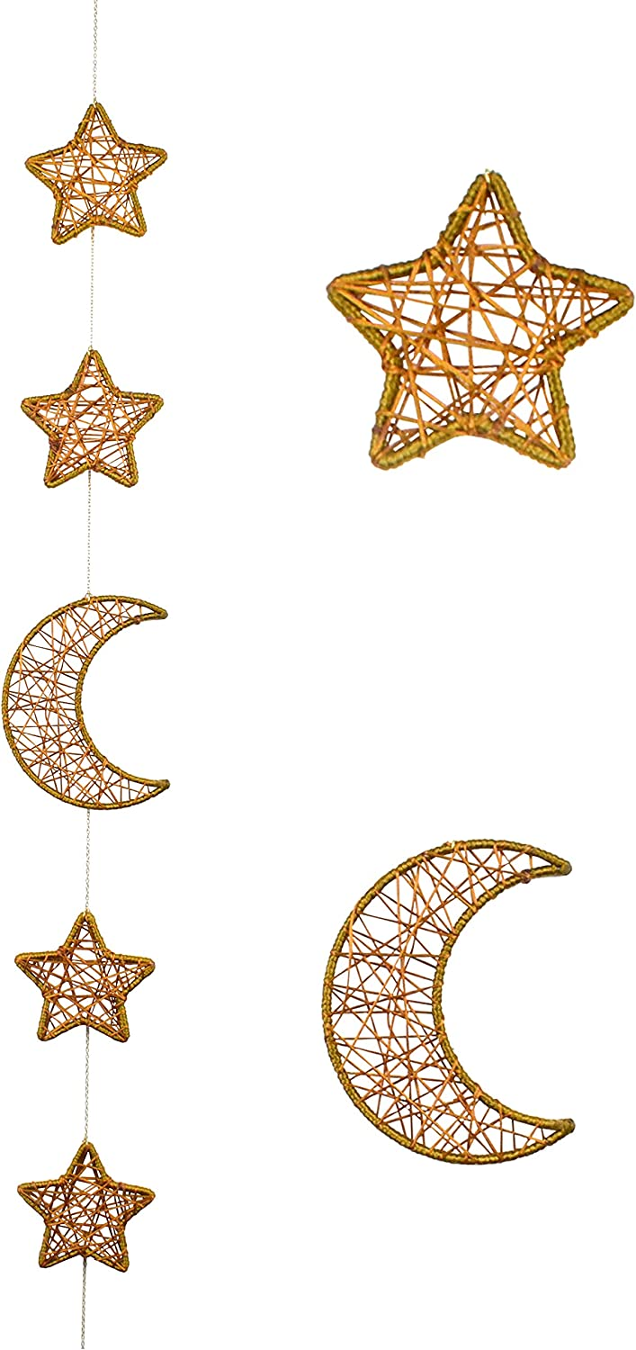 DrCor Star Moon Wall Hanging Decor Banner Moon Garland Chic Vertical Hanging Decoration for Bedroom Nursery(Gold)