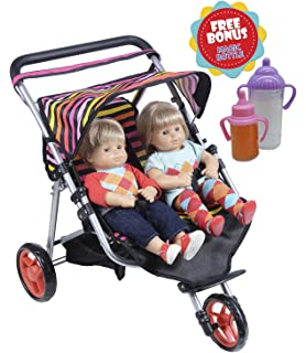 Exquisite Buggy Twin Jogger DOLL Stroller With Diaper Bag 2 FREE Magic Bottles Included