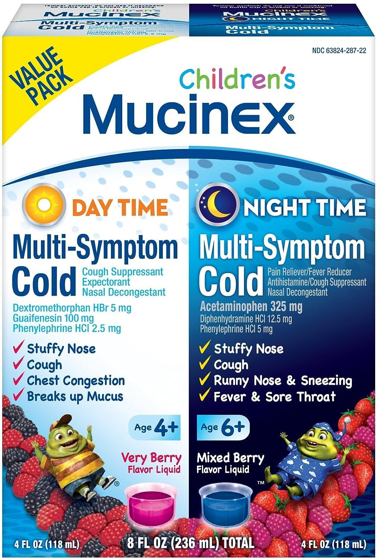 Mucinex Children S Multi Symptom Day Night Cold Relief Liquid 2 X 4 Ounce Pack Of 7