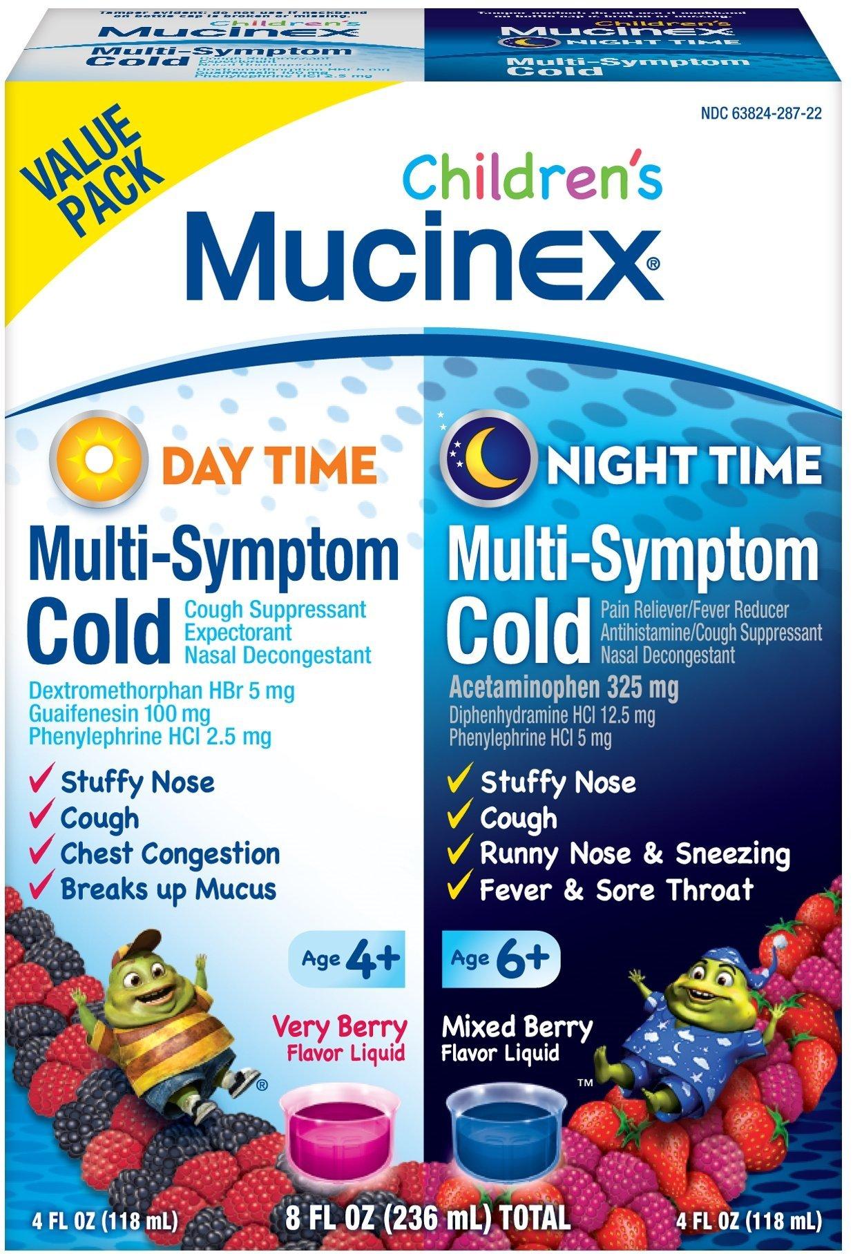 Mucinex Children's Multi-Symptom Day & Night Cold Relief Liquid, 2 x 4 Ounce (Pack of 9)