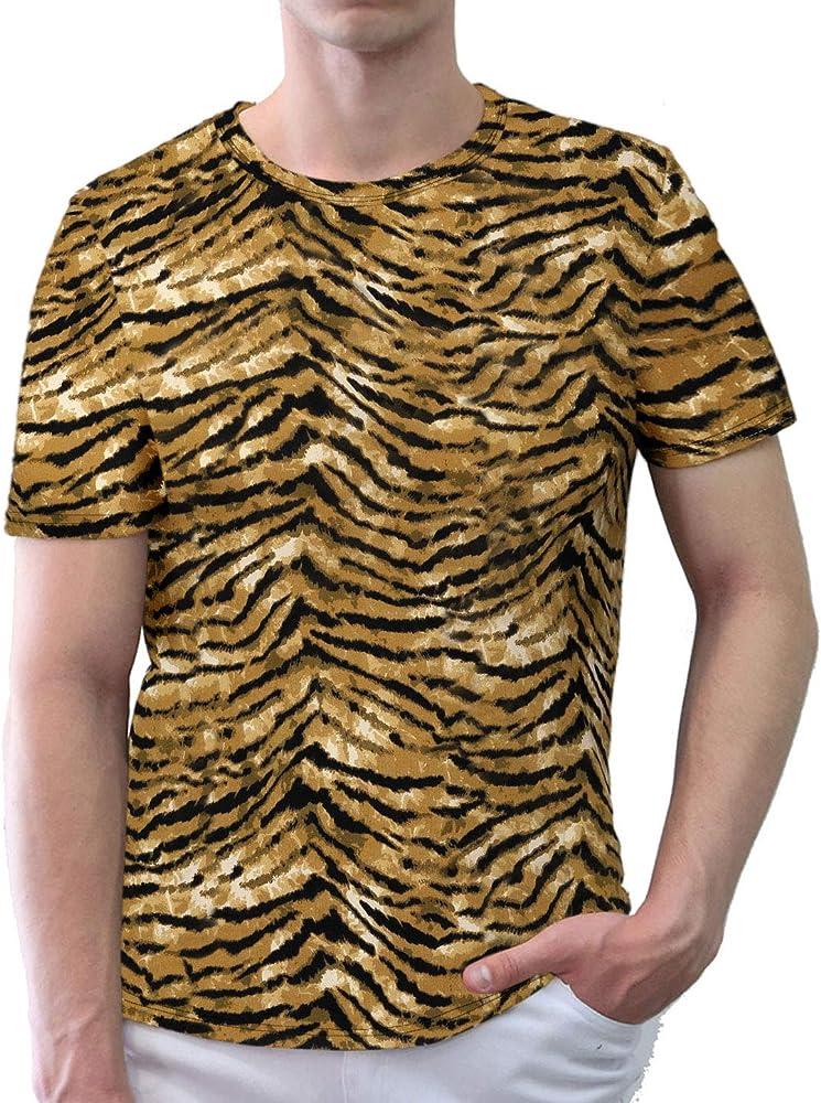 sourcing map Hombre Manga Corta Cuello Redondo Estampado Leopardo Camiseta - Amarillo Negro/S (EU 44): Amazon.es: Ropa y accesorios