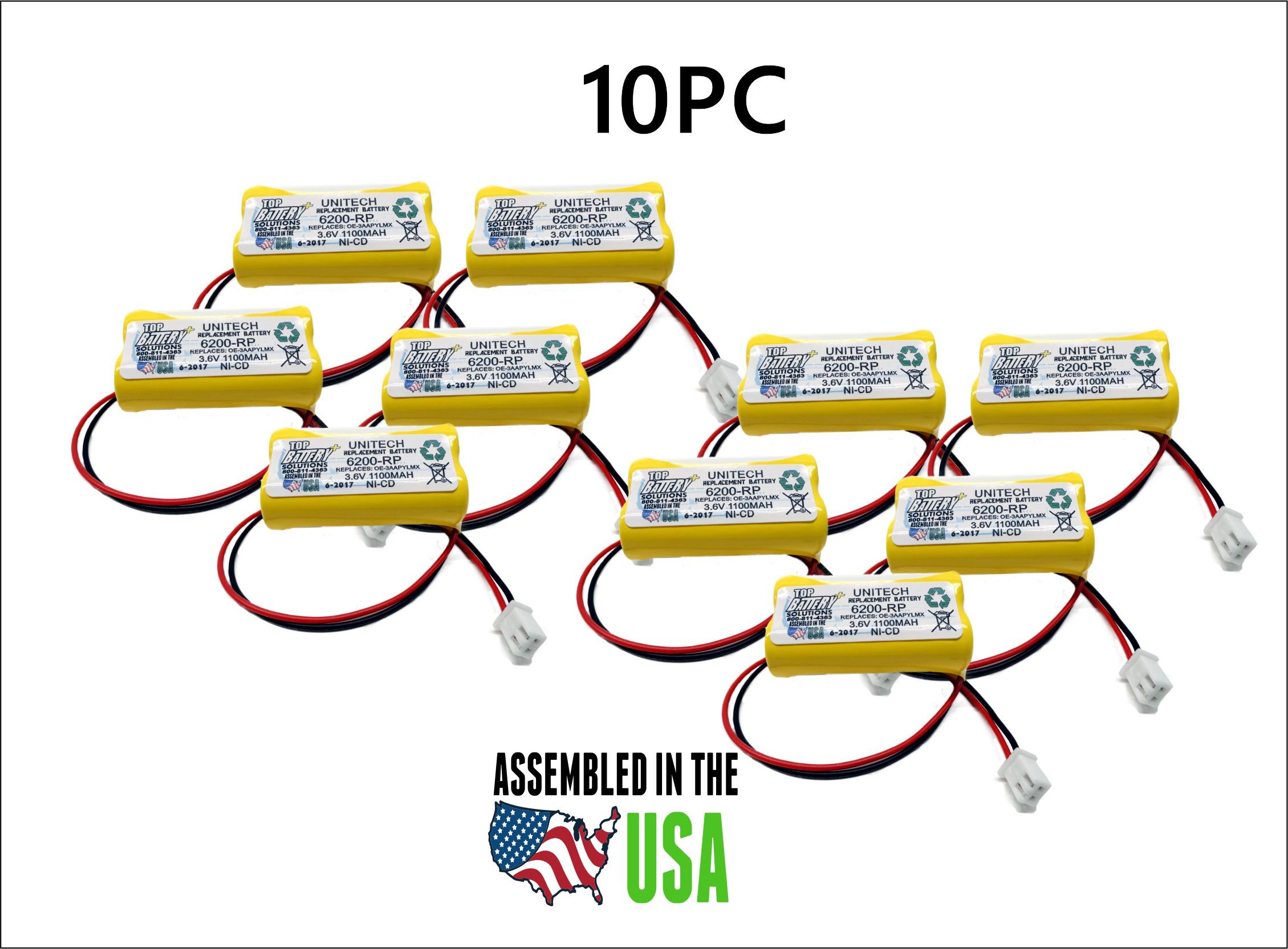 10PC UNITECH 6200RP,3.6V NICAD BATTERY REPLACEMENT