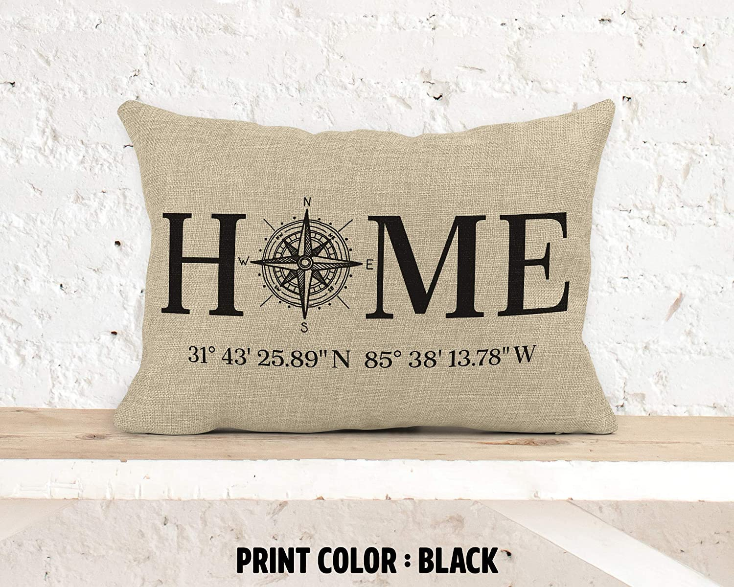 Latitude Longitude Rustic Cushion Cover 12 Inches x 18 Inches Home Coordinates Pillow Cover
