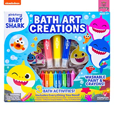 Baby Shark Bath Art Creations by Horizon Group USA, Draw Fun & Exciting Washable Artwork During Bath Time. Dissolvable & Washable Paints, Crayons & Stickers Included, Multicolored: Toys & Games