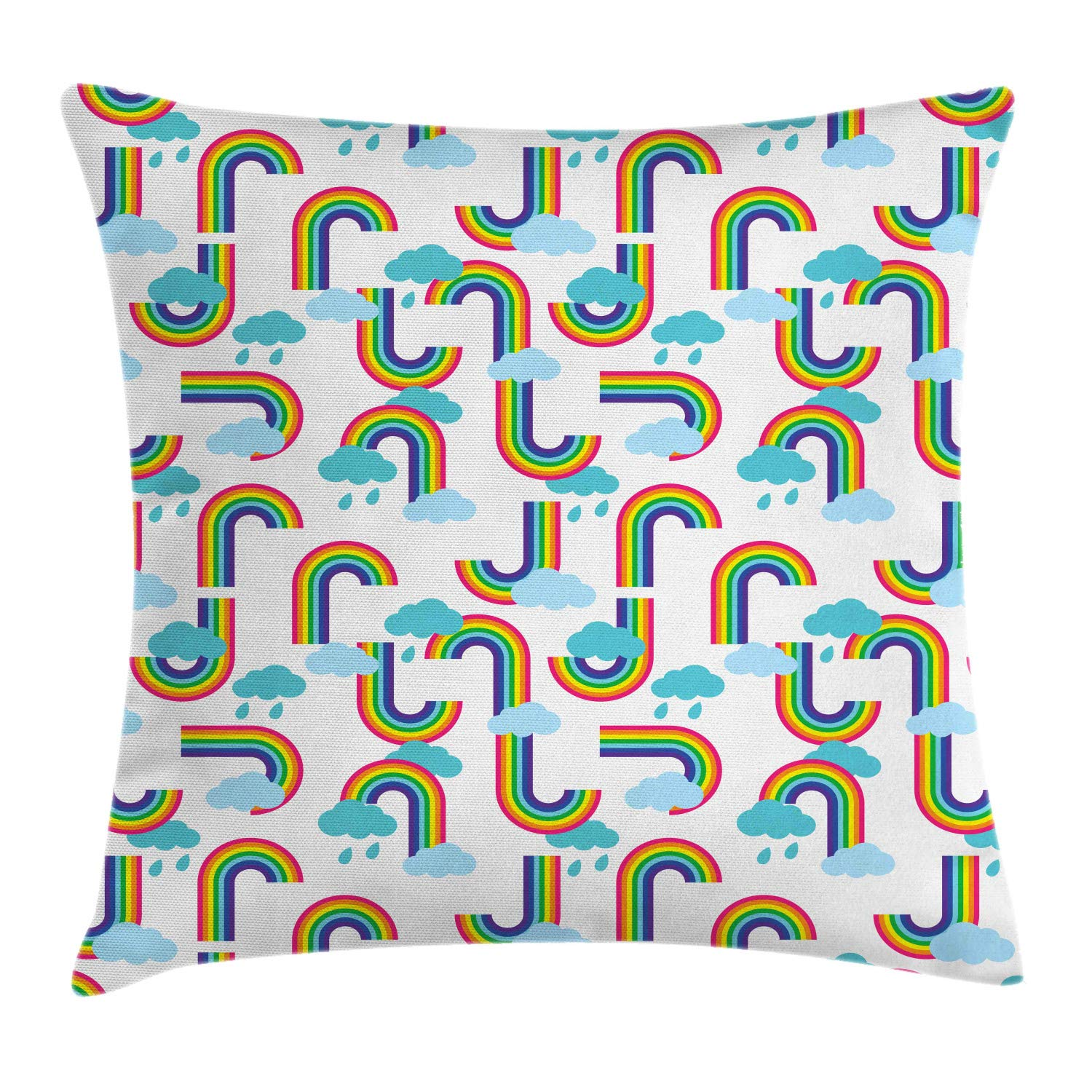 Ambesonne Cartoon Throw Pillow Cushion Cover, Repeating Nursery Themed Pattern of Rainbows and Clouds Sky Elements, Decorative Square Accent Pillow Case, 24'' X 24'', Off White and Multicolor by Ambesonne