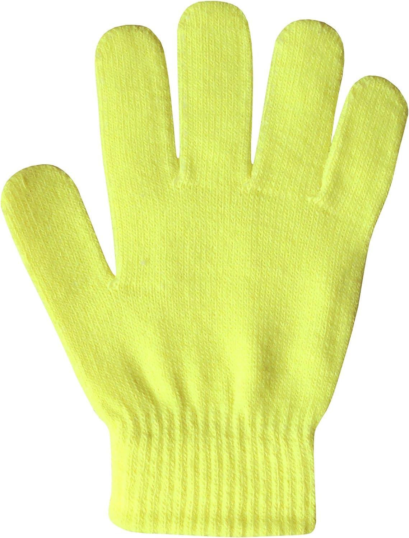Boys /& Girls Unisex Fluorescent Super Soft Fine Knit Neon Magic Winter Gloves