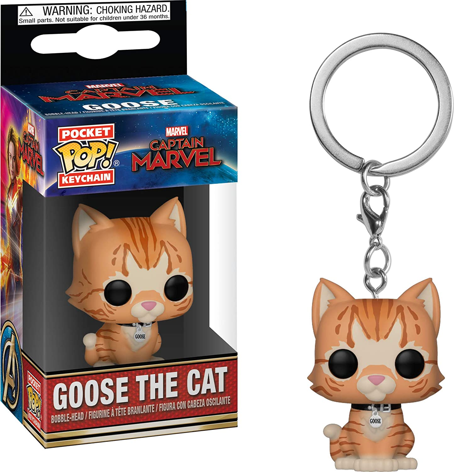 Funko Pop! Keychain Marvel - Captain Marvel - Goose The Cat Toy, Multicolor